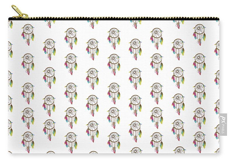 Dreamcatcher Carry-all Pouch featuring the digital art Dreamcatcher Rainbow by Vanessa-May Dolphin