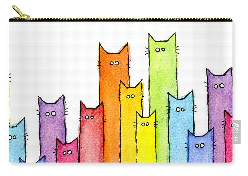 Watercolor Carry-all Pouch featuring the painting Rainbow of Cats by Olga Shvartsur