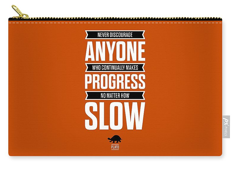 Inspirational Quote Carry-all Pouch featuring the digital art Never Discourage Anyone Motivating Quotes poster by Lab No 4