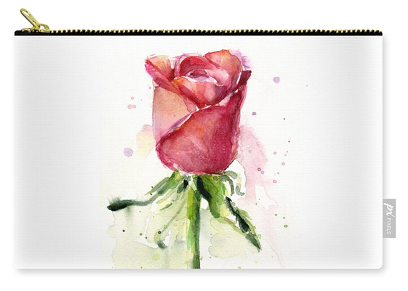 Rose Carry-all Pouch featuring the painting Rose Watercolor by Olga Shvartsur