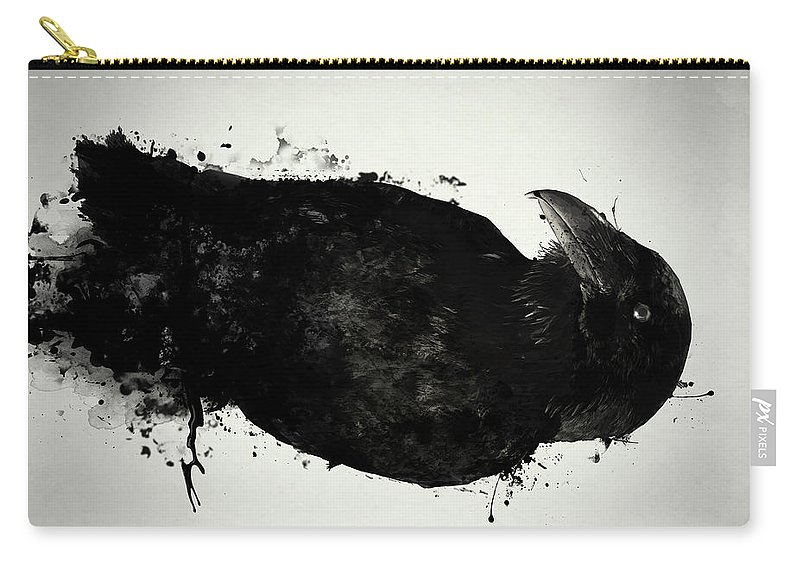 Raven Carry-all Pouch featuring the mixed media The Raven by Nicklas Gustafsson