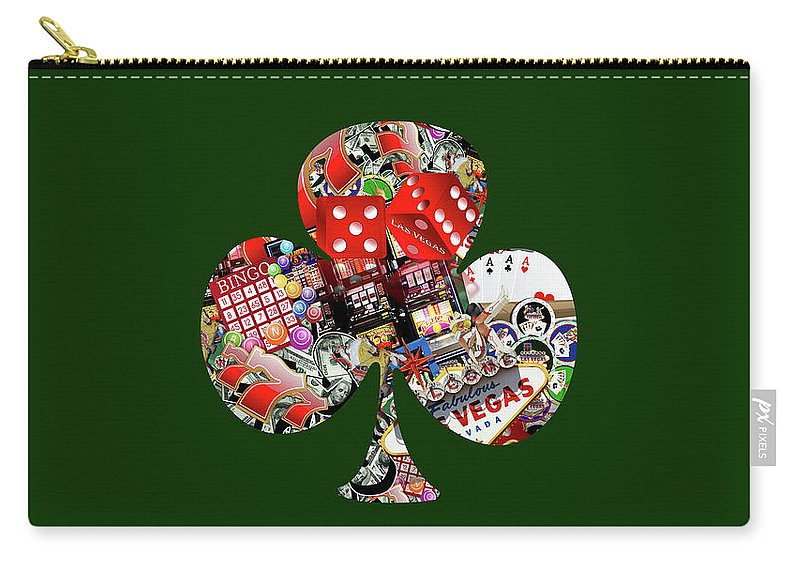 Casino Carry-all Pouch featuring the digital art Club Playing Card Shape by Gravityx9 Designs