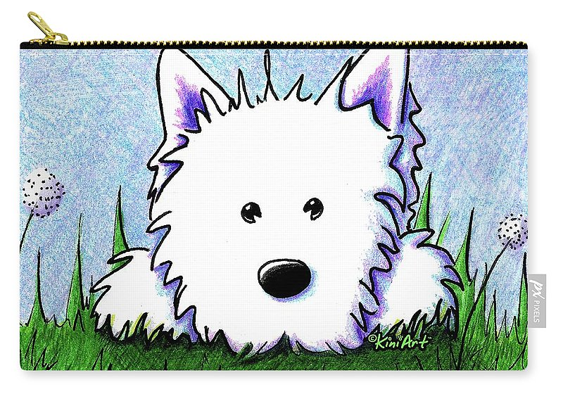 Westie Carry-all Pouch featuring the drawing Kiniart Westie Springtime by Kim Niles