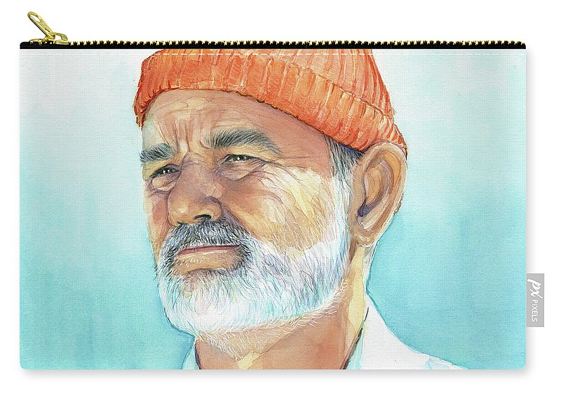 Bill Murray Carry-all Pouch featuring the painting Bill Murray Steve Zissou Life Aquatic by Olga Shvartsur