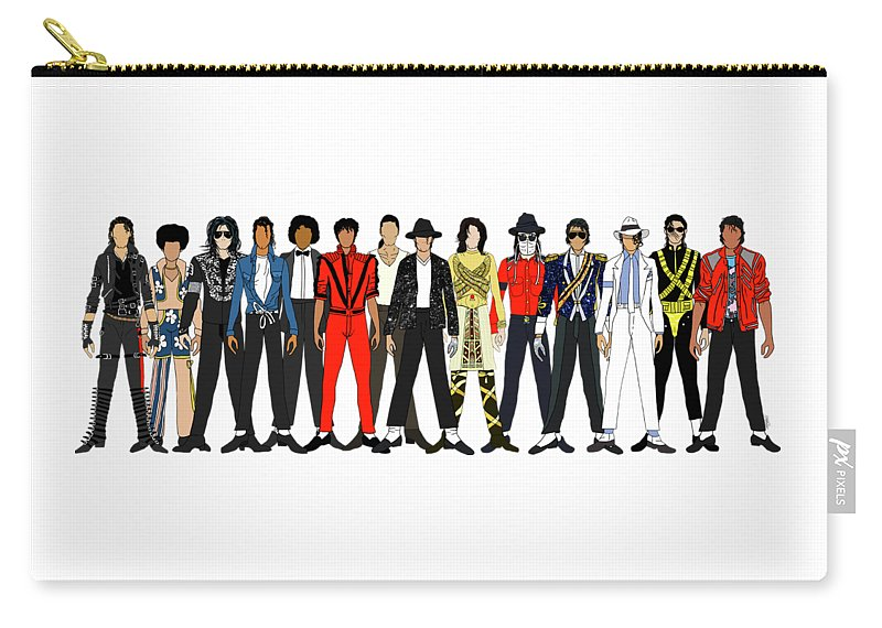 Michael Jackson Carry-all Pouch featuring the digital art Outfits of Michael Jackson by Notsniw Art