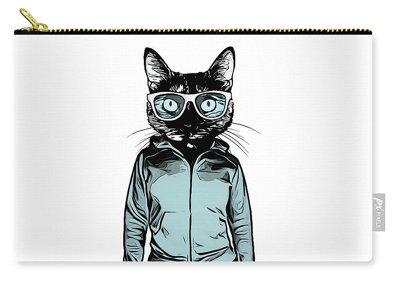Cat Carry-all Pouch featuring the mixed media Cool Cat by Nicklas Gustafsson
