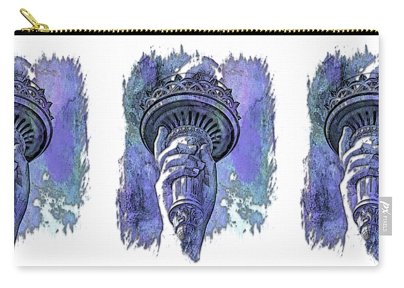 Berry Carry-all Pouch featuring the photograph Light The Path Berry Blues 3 Dimensional by Di Designs