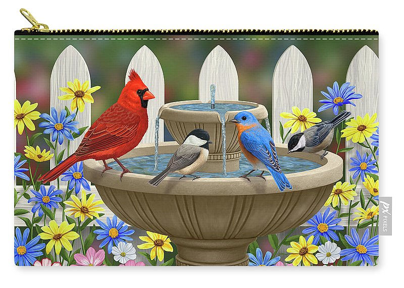 Birds Carry-all Pouch featuring the painting The Colors Of Spring - Bird Fountain In Flower Garden by Crista Forest