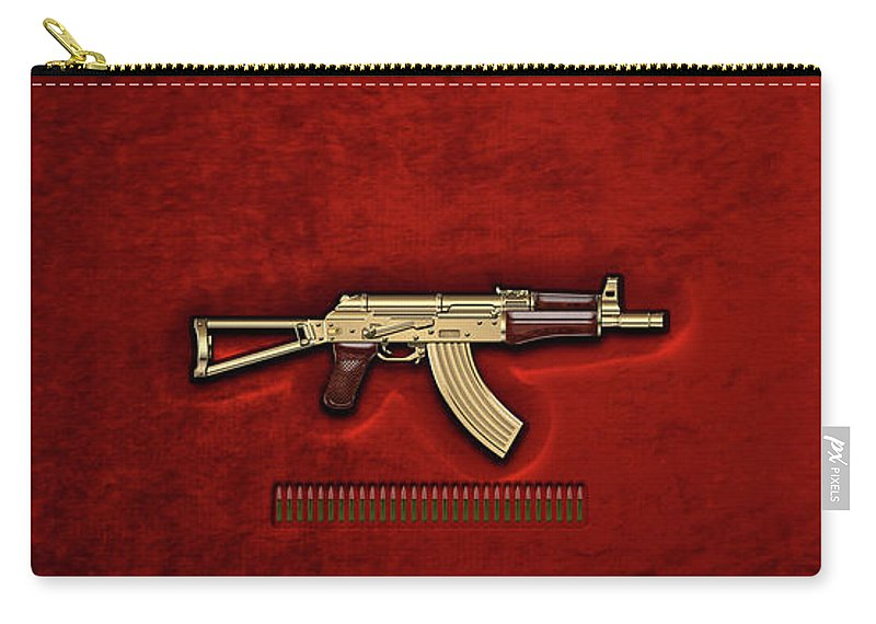 'the Armory' Collection By Serge Averbukh Carry-all Pouch featuring the photograph Gold A K S-74 U Assault Rifle With 5.45x39 Rounds Over Red Velvet  by Serge Averbukh
