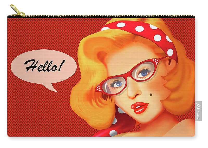 Pinups Carry-all Pouch featuring the digital art Hello by Monika Juengling