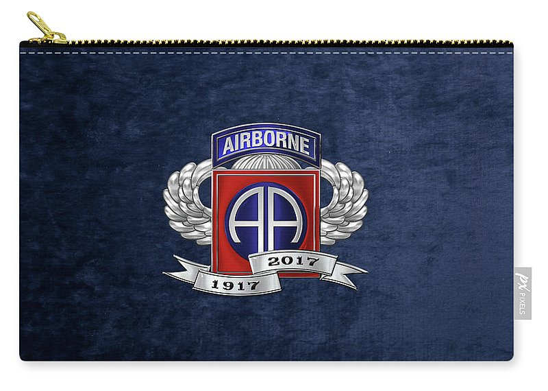 'military Insignia & Heraldry' Collection By Serge Averbukh Carry-all Pouch featuring the digital art 82nd Airborne Division 100th Anniversary Insignia Over Blue Velvet by Serge Averbukh