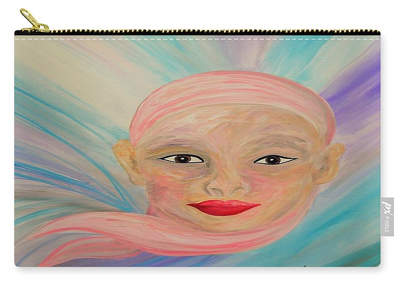 Bald Carry-all Pouch featuring the painting Bald Is Beauty With Brown Eyes by Eloise Schneider Mote