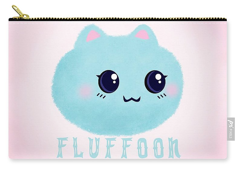 Fluff Carry-all Pouch featuring the digital art Introducing Fluffoon The Cutest Fluff In The World by Little Bunny Sunshine