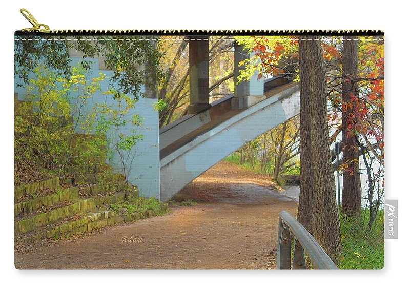 Lady Bird Lake Carry-all Pouch featuring the photograph Austin Hike And Bike Trail - Under Lamar Street Bridge - Fall Colors by Felipe Adan Lerma