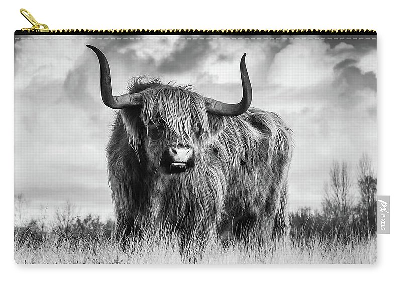 Black And White Carry-all Pouch featuring the photograph Highland Bull by Vasula Tsongas