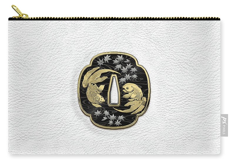 'treasures Of Japan' Collection By Serge Averbukh Carry-all Pouch featuring the photograph Japanese Katana Tsuba - Twin Gold Fish On Black Steel Over White Leather by Serge Averbukh