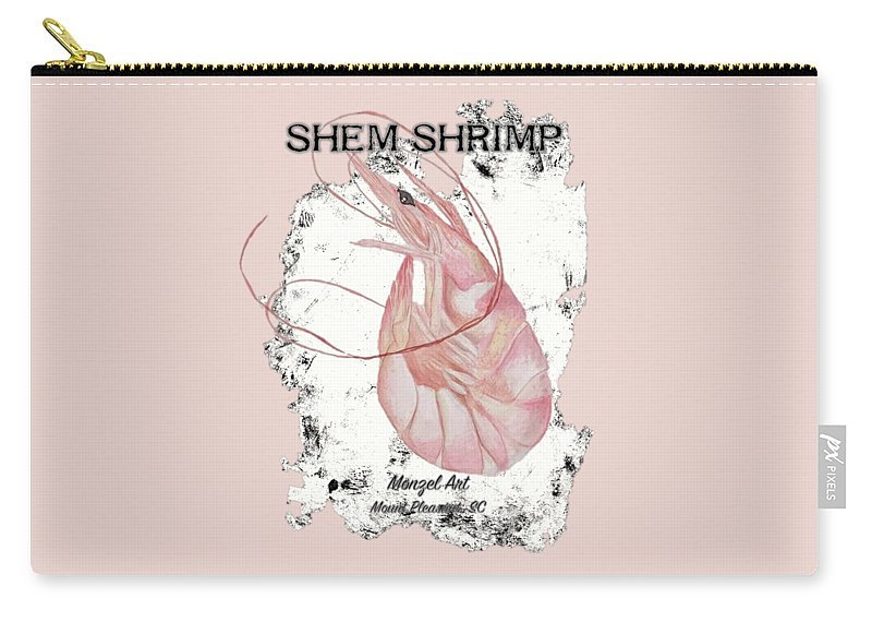 Shrimp Carry-all Pouch featuring the painting Shem Shrimp by Katie Monzel