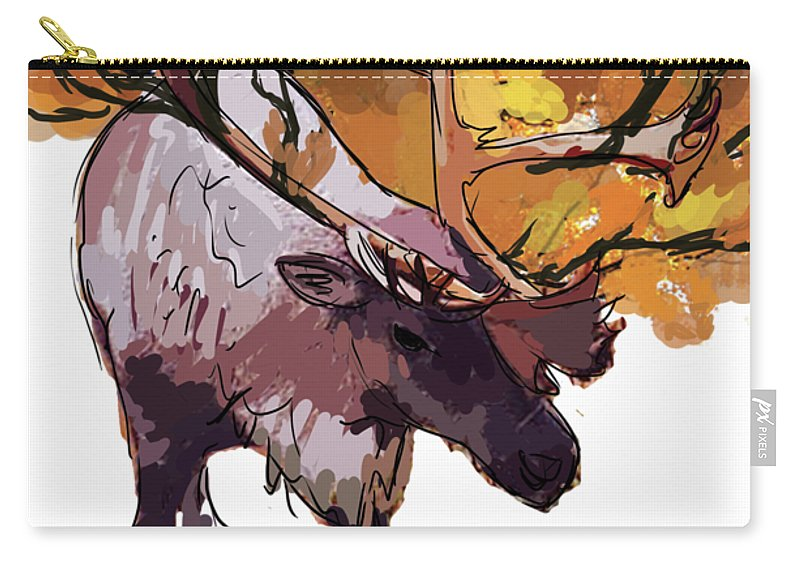 Carry-all Pouch featuring the digital art 150 Caribou Speed Paint by Kate McQueen