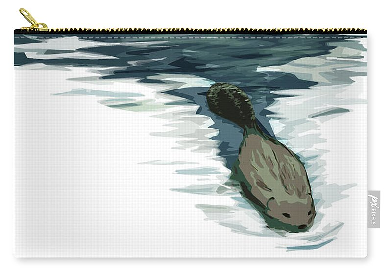 Beaver Carry-all Pouch featuring the digital art We're Still Building Text 0 by Kate McQueen