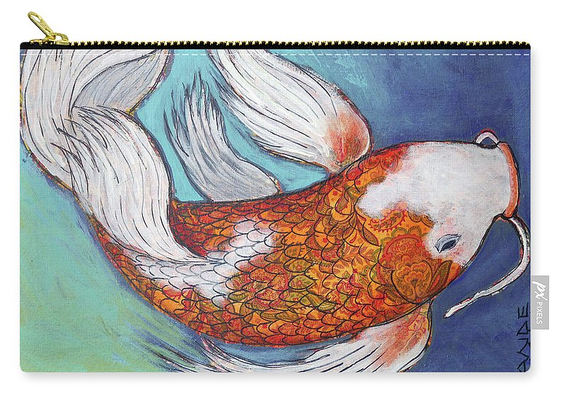 Butterfly Koi Carry-all Pouch featuring the painting Paisley Koi by Ande Hall