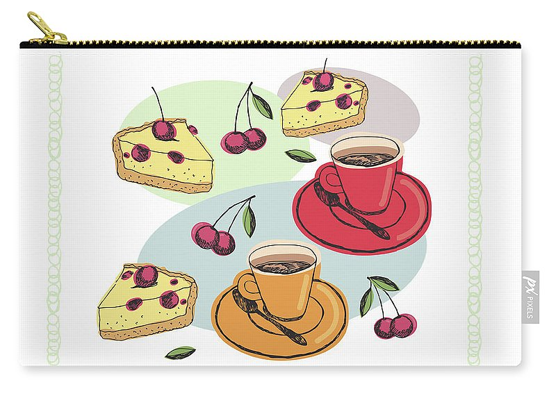 Painting Carry-all Pouch featuring the painting Black Cherry Pie And A Steaming Hot Cup Of Coffee by Little Bunny Sunshine