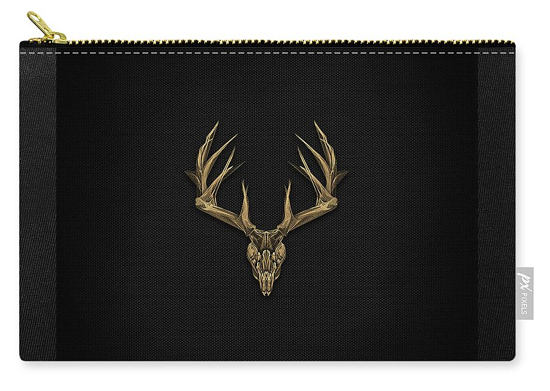 """""""antlered Skulls"""" Collection By Serge Averbukh Carry-all Pouch featuring the digital art Antlered Skulls - Gold Deer Skull X-ray Over Black Canvas No.1 by Serge Averbukh"""