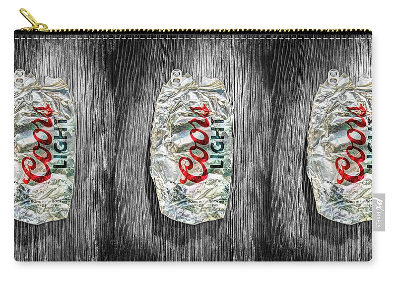 Black Carry-all Pouch featuring the photograph Crushed Light Silver Beer Can On Bw Plywood 79 by YoPedro