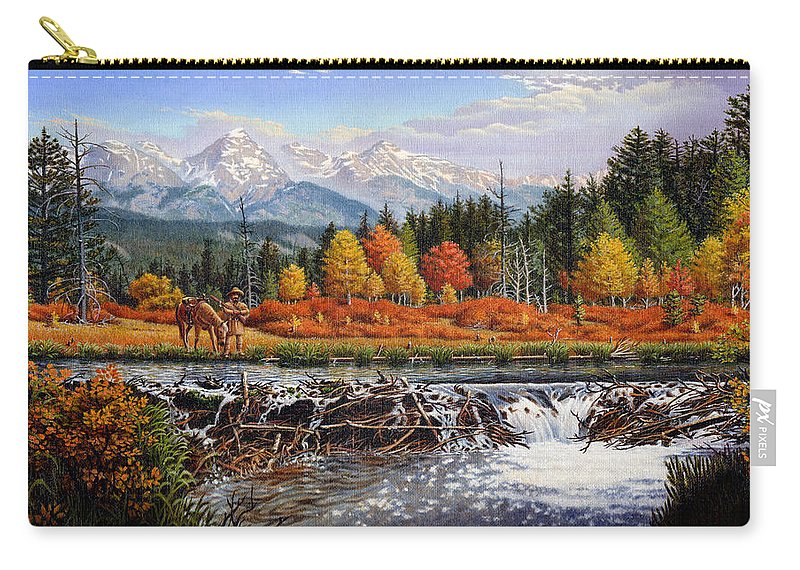 Western Mountain Landscape Carry-all Pouch featuring the painting Western Mountain Landscape Autumn Mountain Man Trapper Beaver Dam Frontier Americana Oil Painting by Walt Curlee