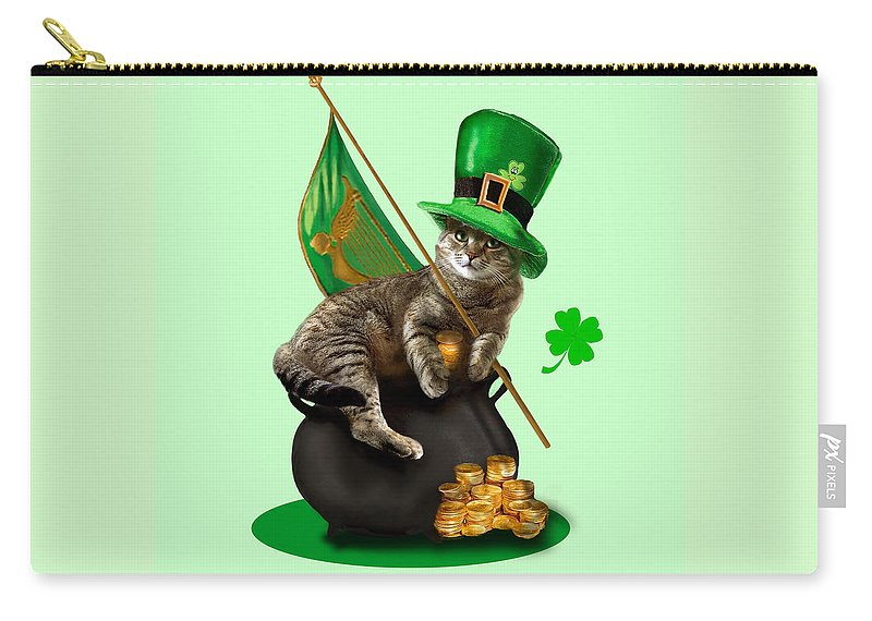 Humorous Holliday St. Patrick's Day Irish Cat Carry-all Pouch featuring the painting St. Patrick's day Irish cat sitting on a pot of gold by Regina Femrite