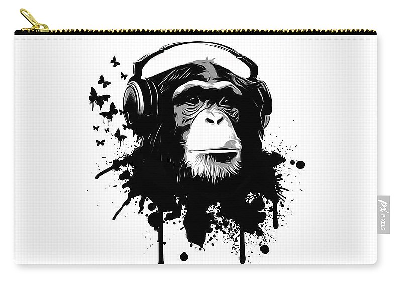 Ape Carry-all Pouch featuring the digital art Monkey Business by Nicklas Gustafsson