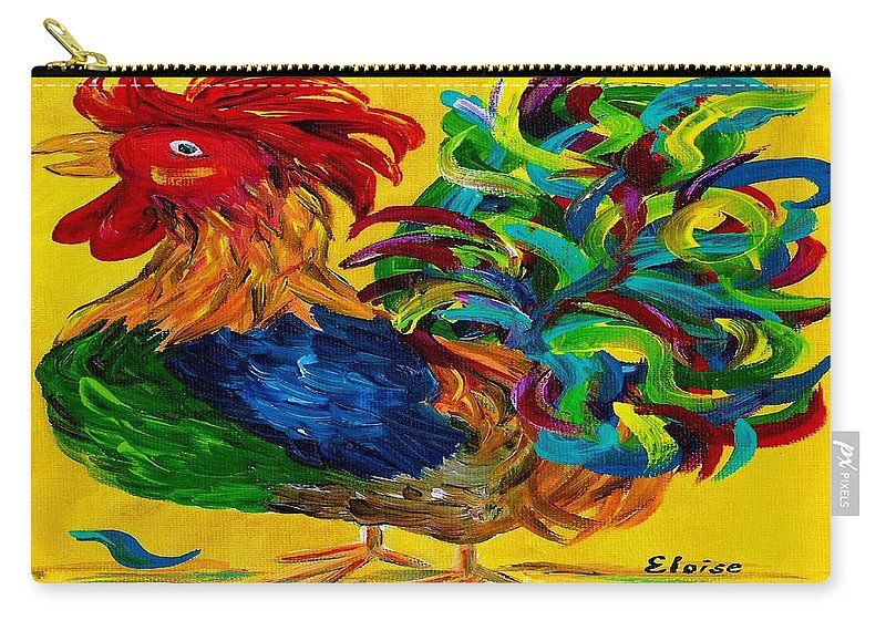 Rooster Carry-all Pouch featuring the painting Plucky Rooster by Eloise Schneider