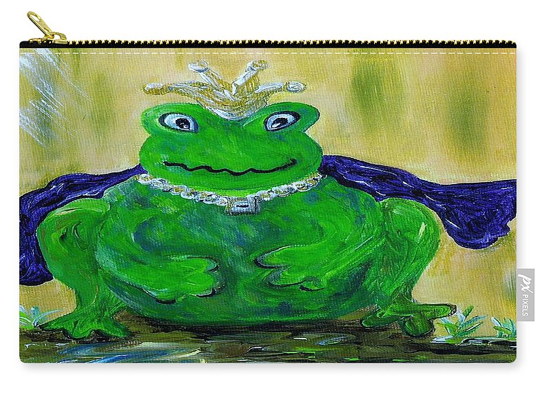 Frog Carry-all Pouch featuring the painting King For A Day by Eloise Schneider