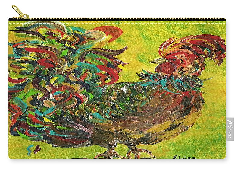 Rooster Carry-all Pouch featuring the painting De Colores Rooster #2 by Eloise Schneider
