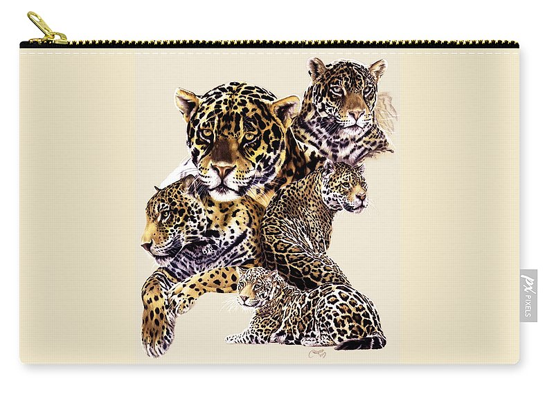 Jaguar Carry-all Pouch featuring the drawing Burn by Barbara Keith