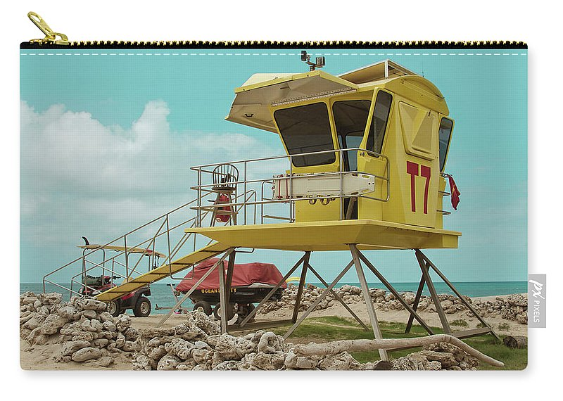 Aloha Carry-all Pouch featuring the photograph T7 Lifeguard Station Kapukaulua Beach Paia Maui Hawaii by Sharon Mau