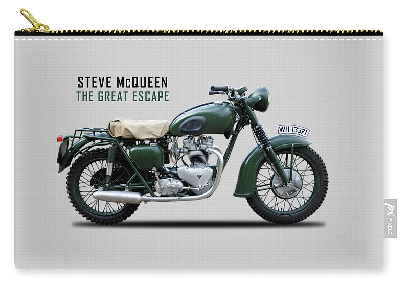 The Great Escape Carry-all Pouch featuring the photograph The Great Escape Motorcycle by Mark Rogan