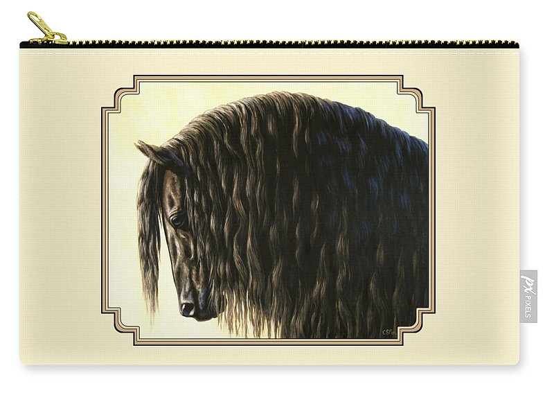 Horse Carry-all Pouch featuring the painting Horse Painting - Friesland Nobility by Crista Forest