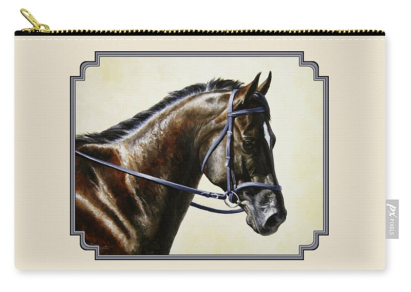 Horse Carry-all Pouch featuring the painting Dressage Horse - Concentration by Crista Forest