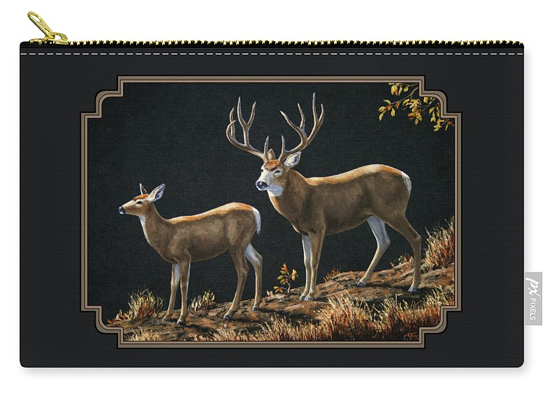 Deer Carry-all Pouch featuring the painting Mule Deer Ridge by Crista Forest