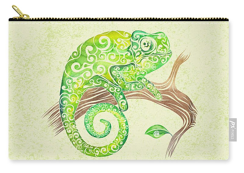 Swirly Carry-all Pouch featuring the mixed media Swirly Chameleon by Carolina Matthes