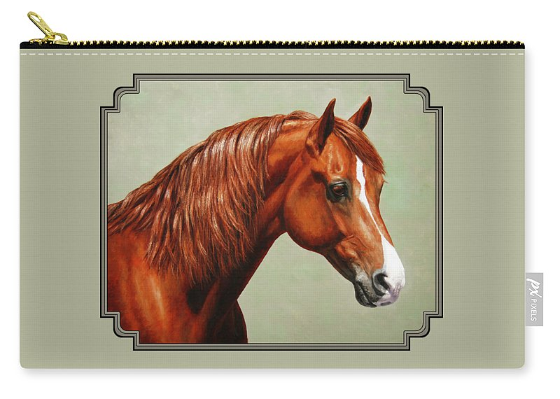 Horse Carry-all Pouch featuring the painting Morgan Horse - Flame by Crista Forest