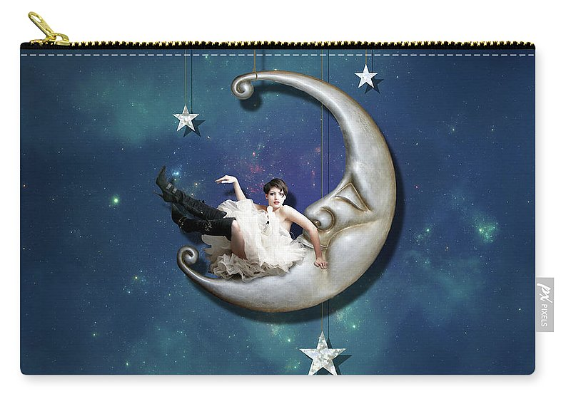 Moon Carry-all Pouch featuring the digital art Paper Moon by Linda Lees