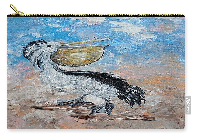 Pelican Carry-all Pouch featuring the painting Pelican Beach Walk - Impressionist by Eloise Schneider Mote