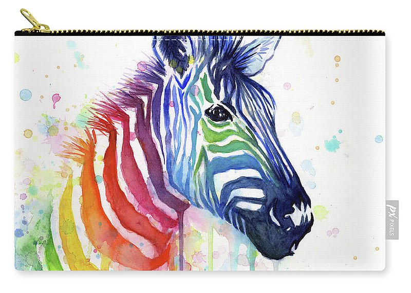Rainbow Carry-all Pouch featuring the painting Rainbow Zebra - Ode to Fruit Stripes by Olga Shvartsur