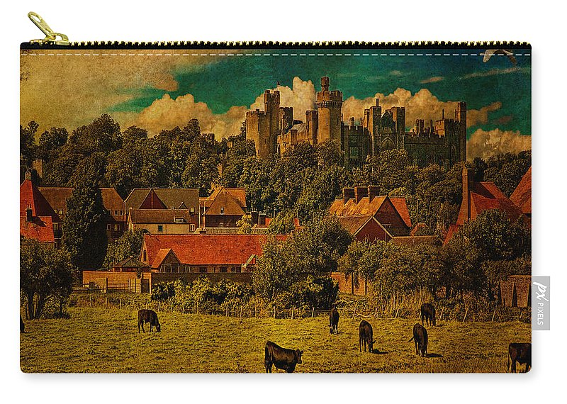 Cows Carry-all Pouch featuring the photograph Arundel Castle With Cows by Chris Lord