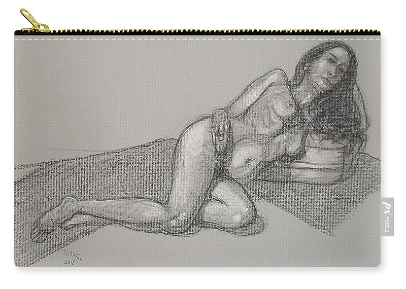Realism Carry-all Pouch featuring the drawing Arzelie Reclining 1 by Donelli DiMaria
