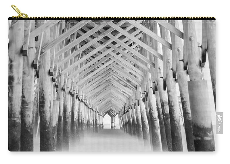 9 Stop Filter Carry-all Pouch featuring the photograph As The Water Fades Grayscale by Jennifer White