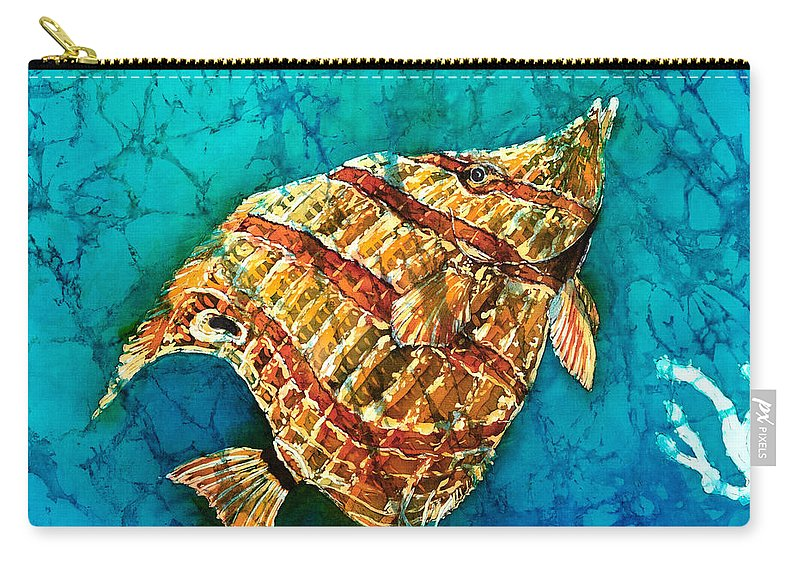 Beaked Butterflyfish Carry-all Pouch featuring the painting Ascending by Sue Duda