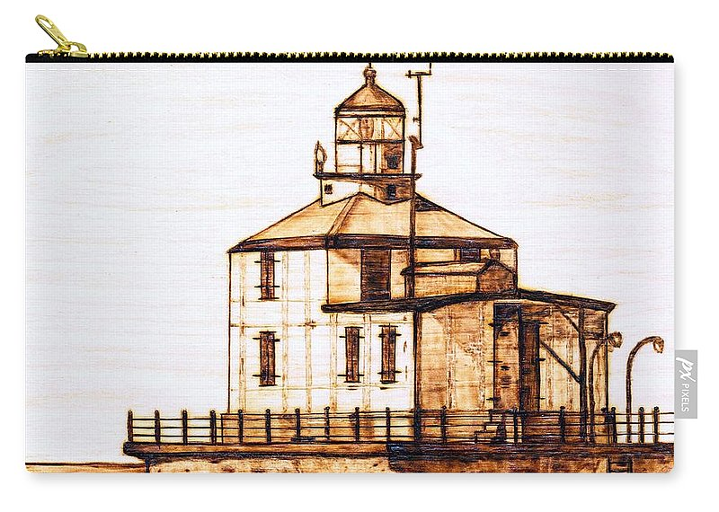 Lighthouse Carry-all Pouch featuring the pyrography Ashtabula Harbor by Danette Smith
