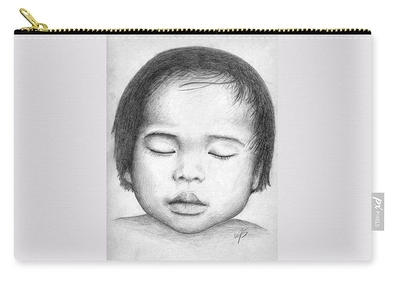 Baby Carry-all Pouch featuring the drawing Asian Baby by Nicole Zeug